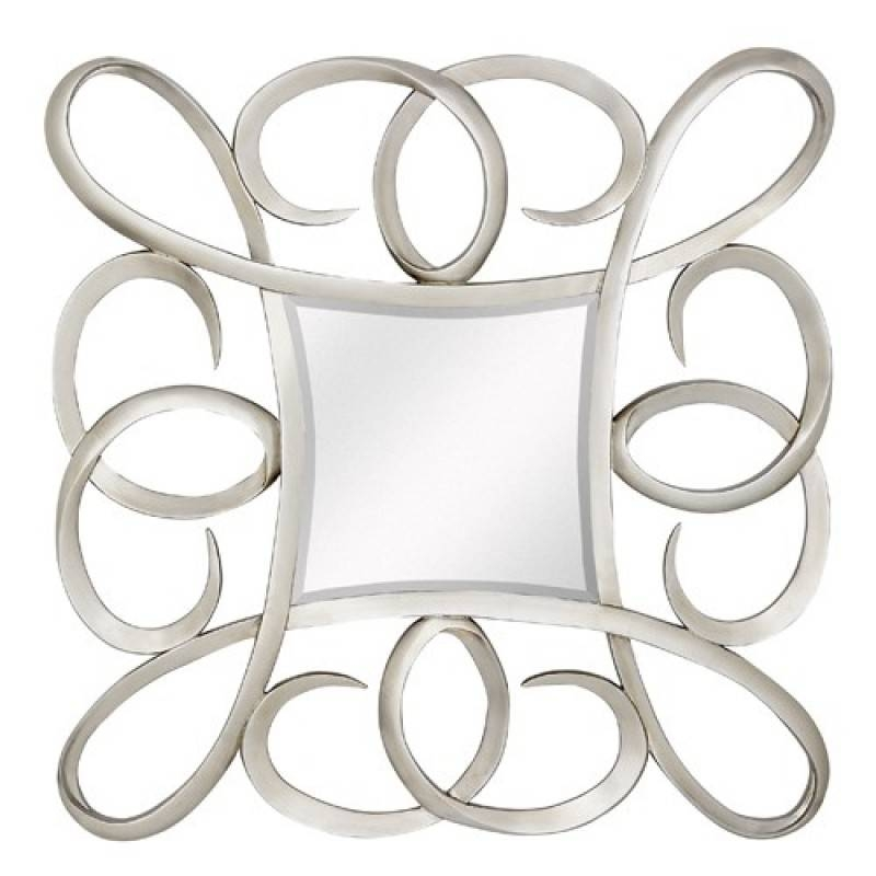 Majestic Mirrors Silver Swirls Square Wall Mirror Cm 1962 P For Swirl Wall Mirrors (View 7 of 15)