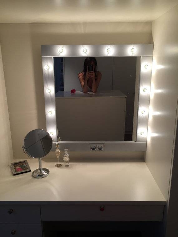 Make Up Mirror With Lights Vanity Mirror In Many Colors For Wall Mirrors With Light (#9 of 15)