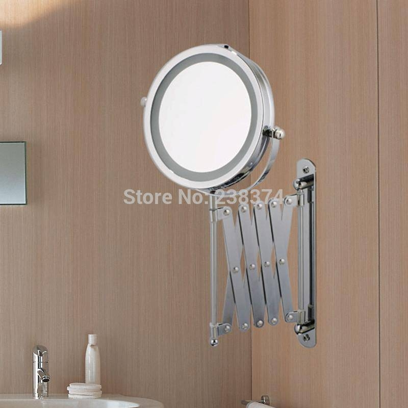Makeup Mirrors Led Wall Mounted Extending Folding Double Side Led With Extending Wall Mirrors (#11 of 15)
