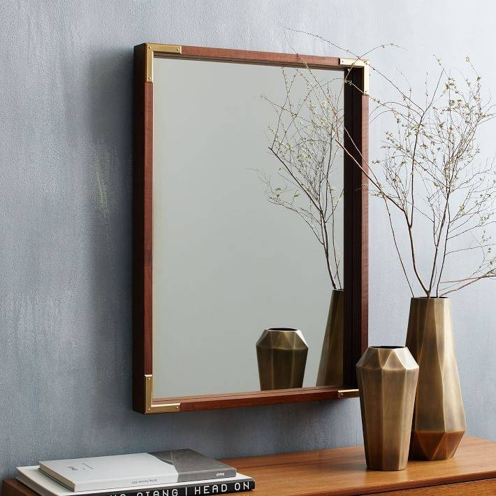 Malone Campaign Wall Mirror – Walnut | West Elm Intended For Wall Mirrors With Shelf (#11 of 15)