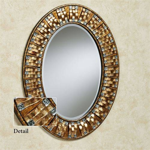 Maybelle Mosaic Oval Wall Mirror In Gold Oval Mirrors (#8 of 15)