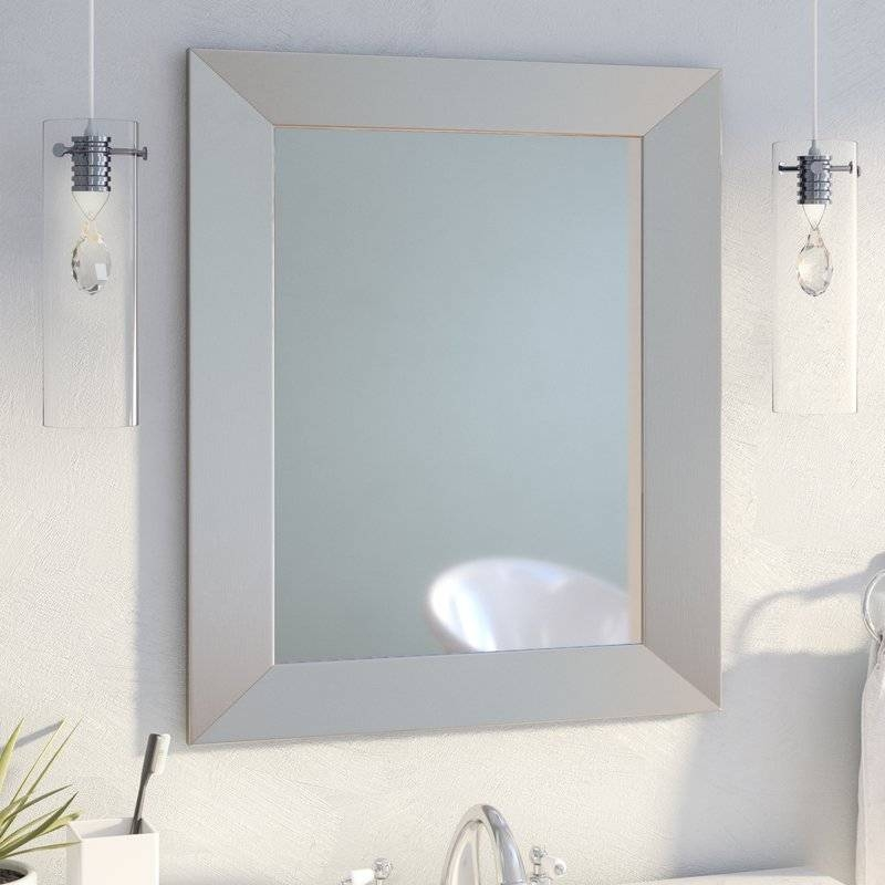 Mercury Row Modern Rectangle Wood Wall Mirror & Reviews | Wayfair Regarding Glass Wall Mirrors (#8 of 15)