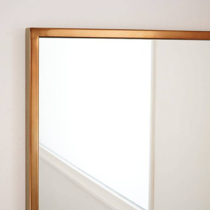 Metal Framed Asymmetrical Floor Mirror – Rose Gold | West Elm Within Gold Framed Wall Mirrors (#10 of 15)