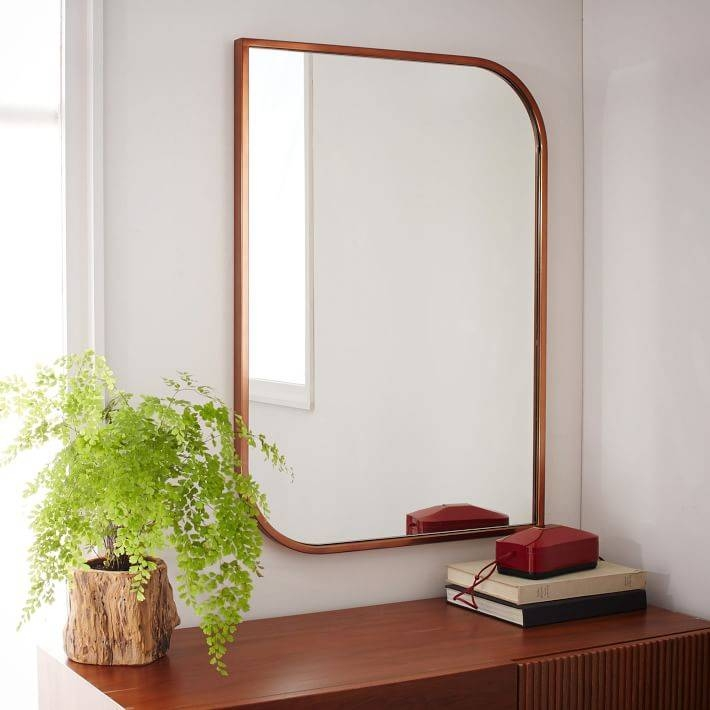 Metal Framed Asymmetrical Wall Mirror – Rose Gold | West Elm Within Framed Wall Mirrors (#10 of 15)