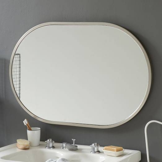 Metal Framed Oval Wall Mirror – Brushed Nickel | West Elm Inside Brushed Nickel Wall Mirrors (#12 of 15)