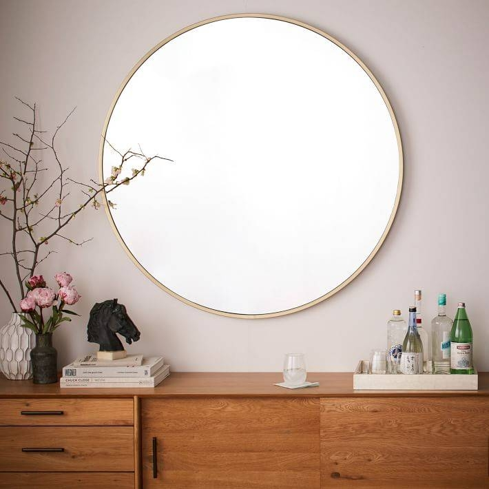 Metal Framed Oversized Round Mirror | West Elm In Big Round Wall Mirrors (#13 of 15)