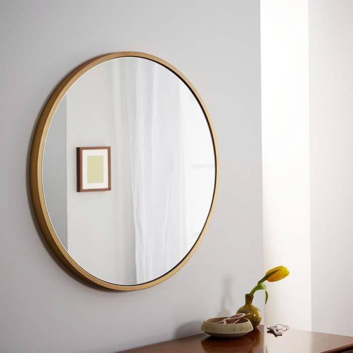 Metal Framed Round Wall Mirror | West Elm Regarding Mirror Framed Wall Mirrors (View 9 of 15)