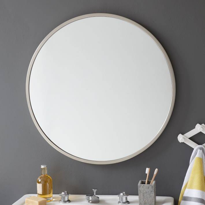 Metal Framed Round Wall Mirror | West Elm Regarding White Frame Wall Mirrors (View 9 of 15)