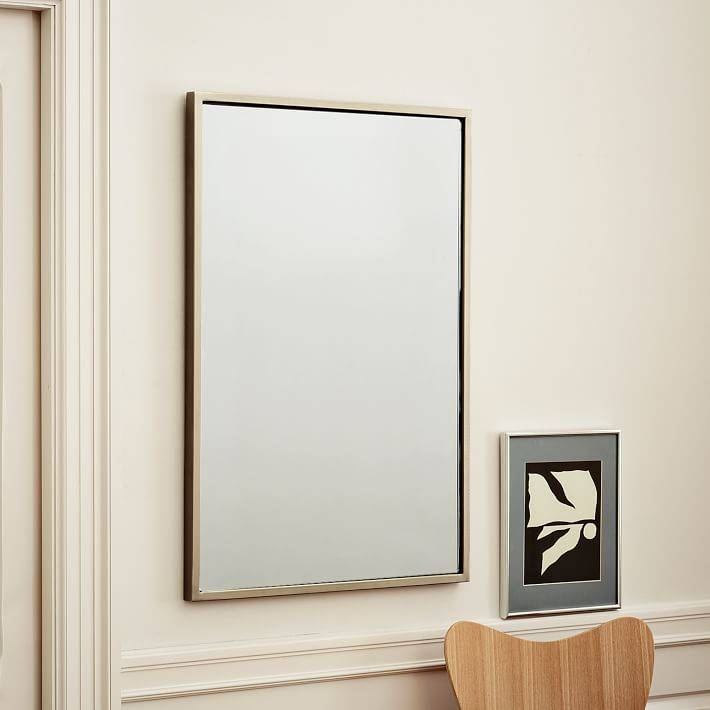Metal Framed Wall Mirror | West Elm Throughout Wall Mirror With Mirror Frame (#10 of 15)