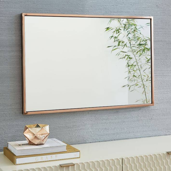 Metal Framed Wall Mirror | West Elm With Metal Wall Mirrors (View 4 of 15)