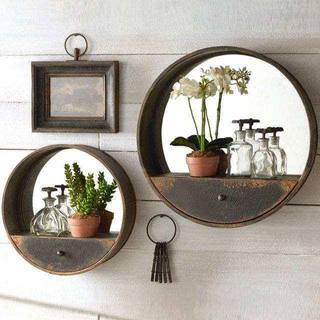 Metal Wall Mirror With Shelf And Drawer | Antique Farmhouse Inside Wall Mirrors With Shelf (#12 of 15)