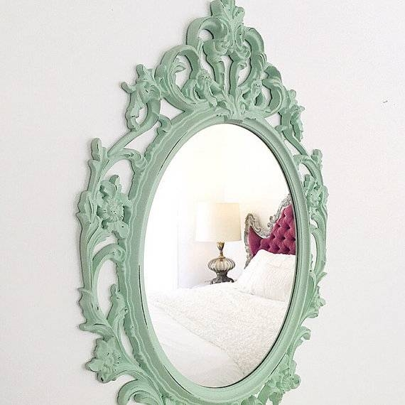 Mint Green Mirror Ornate Nursery Mirror Distressed Bathroom With Regard To Green Wall Mirrors (View 11 of 15)