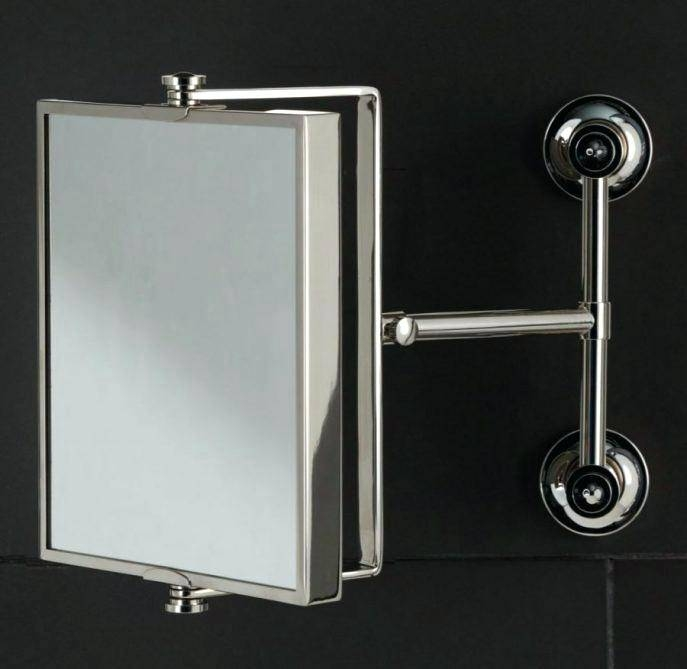 Mirror Bathroom Espresso Extension Mirrors Arm Lighted Wall Mount Throughout Extension Arm Wall Mirrors (#12 of 15)