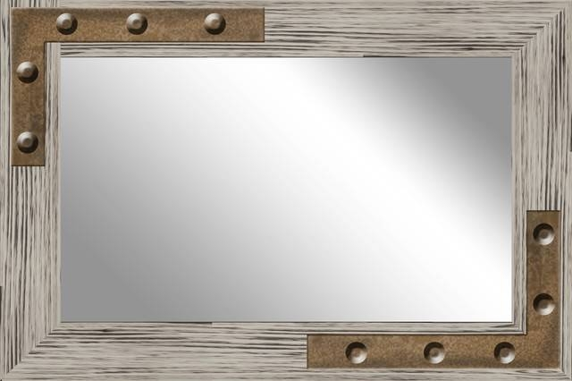 Mirror With Studs – Industrial – Wall Mirrors Ptm Images With Regard To Rustic Wall Mirrors (View 12 of 15)