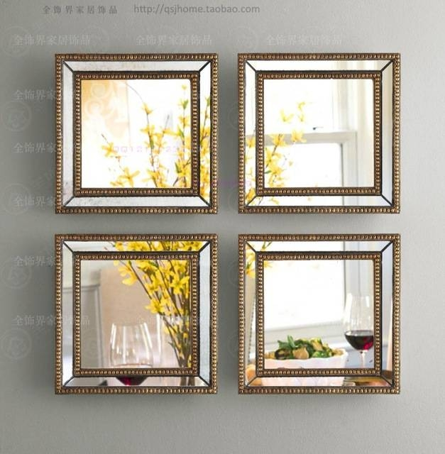 Mirrored Wall Decor Fretwork Square Wall Mirror Framed Wall Art With Decorative Framed Wall Mirrors (#11 of 15)