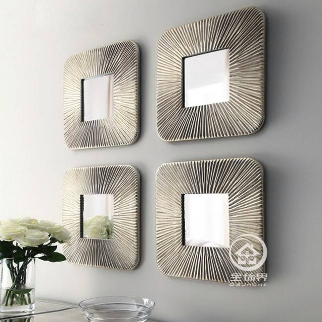 Mirrored Wall Decor Fretwork Square Wall Mirror Framed Wall Art With Regard To Decorative Framed Wall Mirrors (#12 of 15)