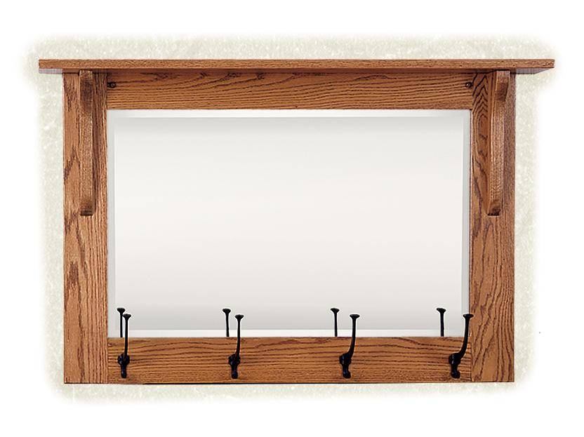 Mission Wall Mirror With Coat Rack From Dutchcrafters Amish Furniture Within Wall Mirror With Coat Hooks (#8 of 15)