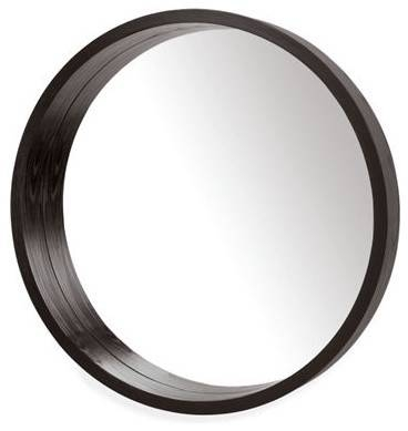 Modern Round Mirror, Silver Leaf Round Wall Mirror Antique Silver For Black Round Wall Mirrors (#14 of 15)