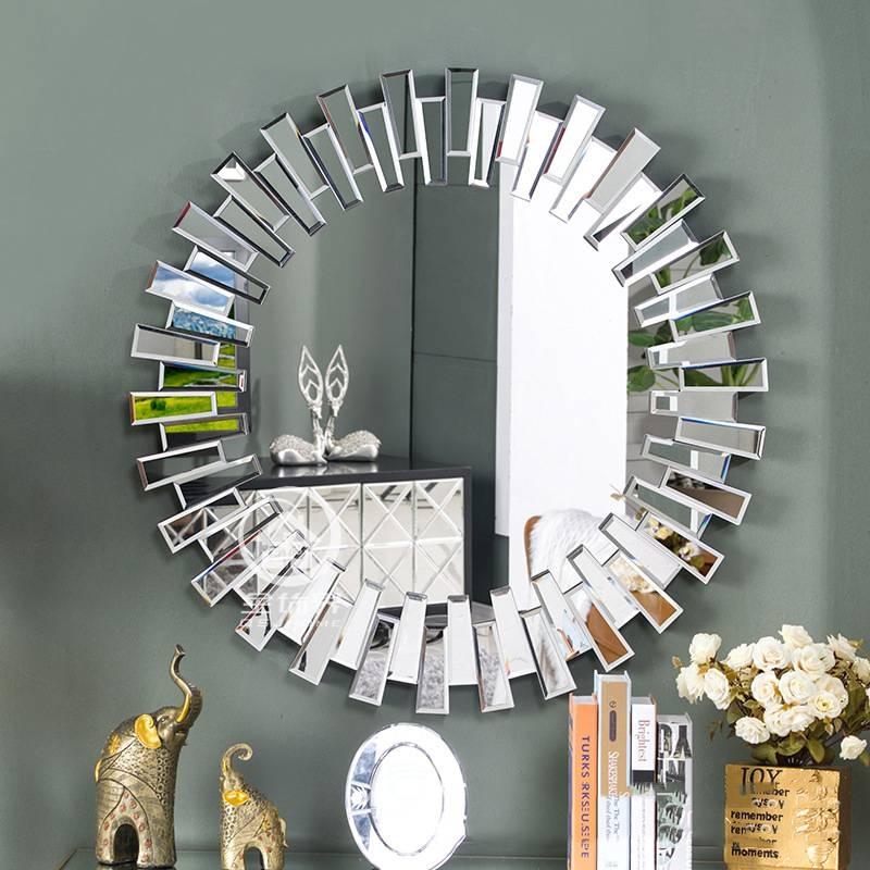 Modern Round Wall Mirror Glass Console Mirror Venetian Mirror Wall Intended For Modern Round Wall Mirrors (#13 of 15)