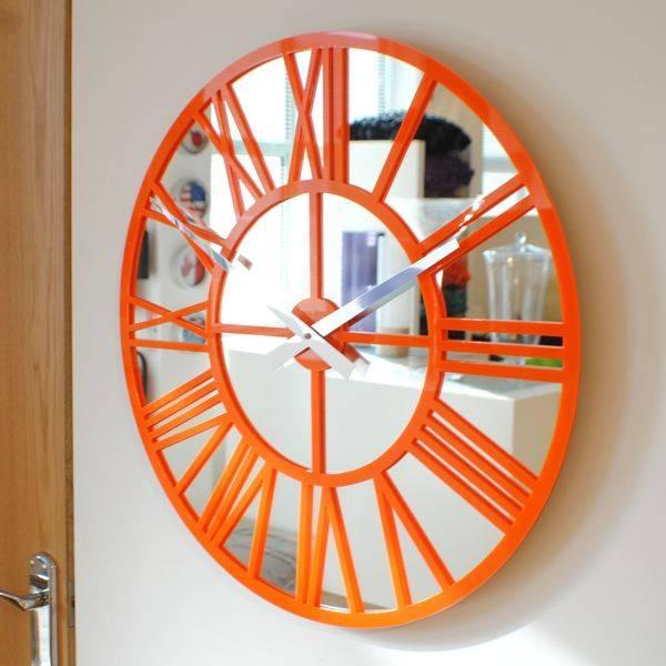 Modern Vintage Mirror Skeleton Wall Clock Us Throughout Orange Wall Mirrors (#10 of 15)