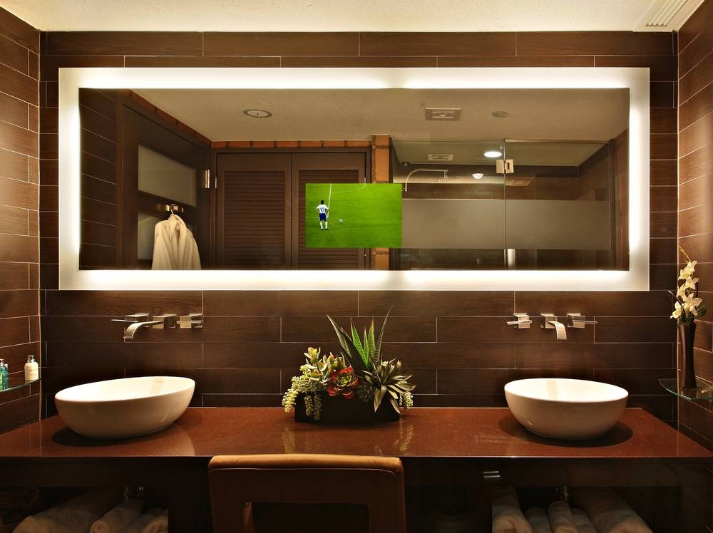 Modest Design Lighted Bathroom Wall Mirror Classy Idea Led – Wall Throughout Lighted Bathroom Wall Mirrors (#14 of 15)