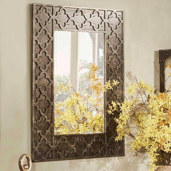 Morrocan Rectangle Grey Accent Wall Mirror For Decorative Rectangular Wall Mirrors (#8 of 15)
