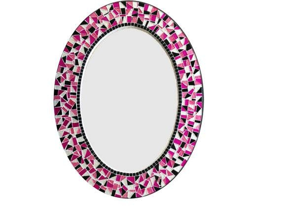 Mosaic Mirror / Oval Wall Mirror / Pink Black White / Teen Inside Pink Wall Mirrors (#11 of 15)