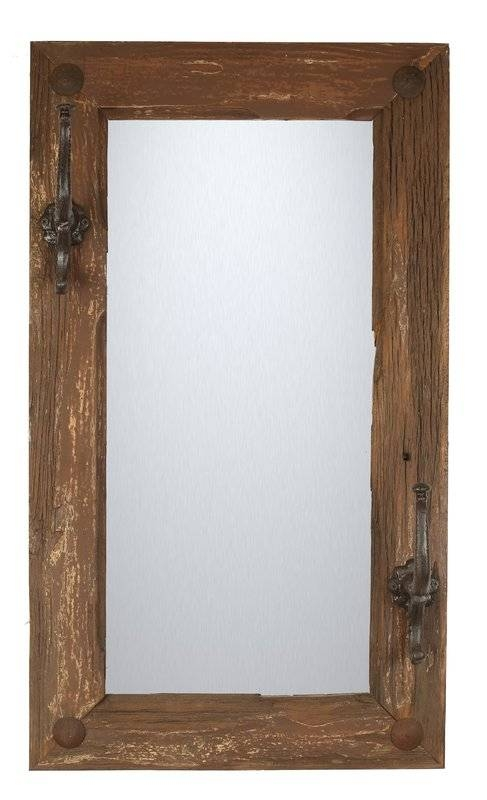 Myamigosimports Old Door Rustic Hat Rack Wall Mirror & Reviews Within Rustic Wall Mirrors (#13 of 15)