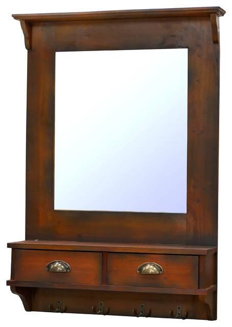 """Nach Wall Mirror With Drawers, Dark Walnut, 26.8""""x6.5""""x (#10 of 15)"""