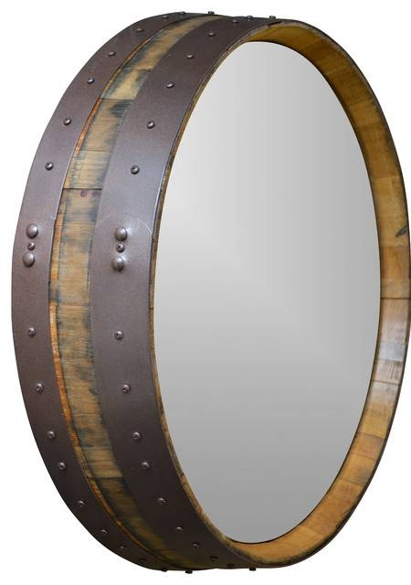 Napa Valley Hammered Copper Wine Barrel Mirror – Rustic – Wall Within Copper Wall Mirrors (View 8 of 15)