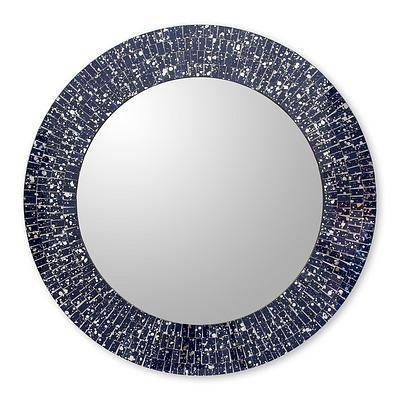 Navy Blue Glass Mosaic Round Wall Mirror Craftedhand – Round Pertaining To Glass Mosaic Wall Mirrors (#14 of 15)