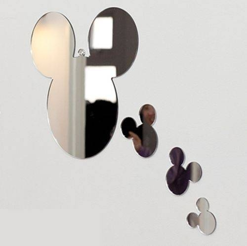 New 1set 4pcs Mickey Mouse Wall Mirror Home Art Decor Interior For Mickey Mouse Wall Mirrors (View 4 of 15)