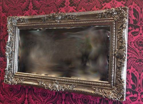 New Large Ornat Gilt Antique Beveled Edge French Style Wall Mirror Within Large Silver Framed Wall Mirror (#13 of 15)