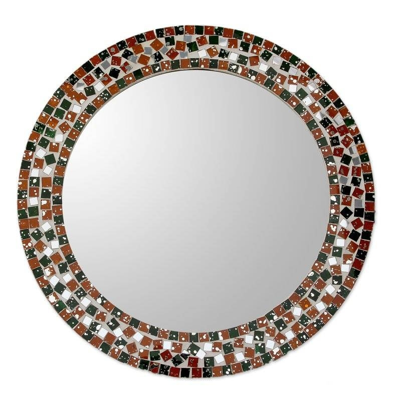 Novica Forest Mosaic Artisan Crafted Round Wall Mirror With Glass Inside Round Wall Mirrors (#13 of 15)