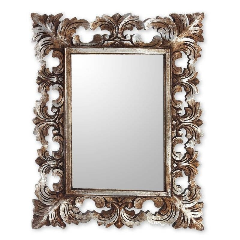 Novica Padma Hand Carved Wood Wall Mirror | Wayfair Throughout Wooden Wall Mirrors (#6 of 15)