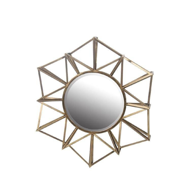 Octagon Gemoetric Beveled Glass Gold Wall Mirror Inside Geometric Wall Mirrors (View 15 of 15)
