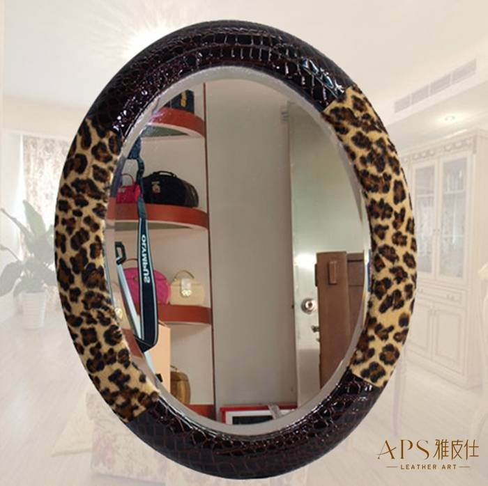 Online Shop Leopard Print Leather Dressing Mirror Makeup Mirror Pertaining To Leopard Wall Mirrors (#8 of 15)