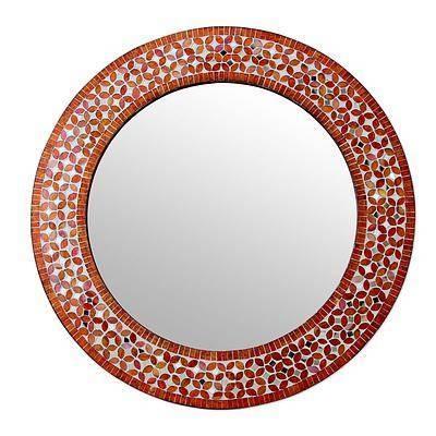 Orange And White Glass Mosaic Circular Wall Mirror – Tangerine Pertaining To Orange Wall Mirrors (#12 of 15)