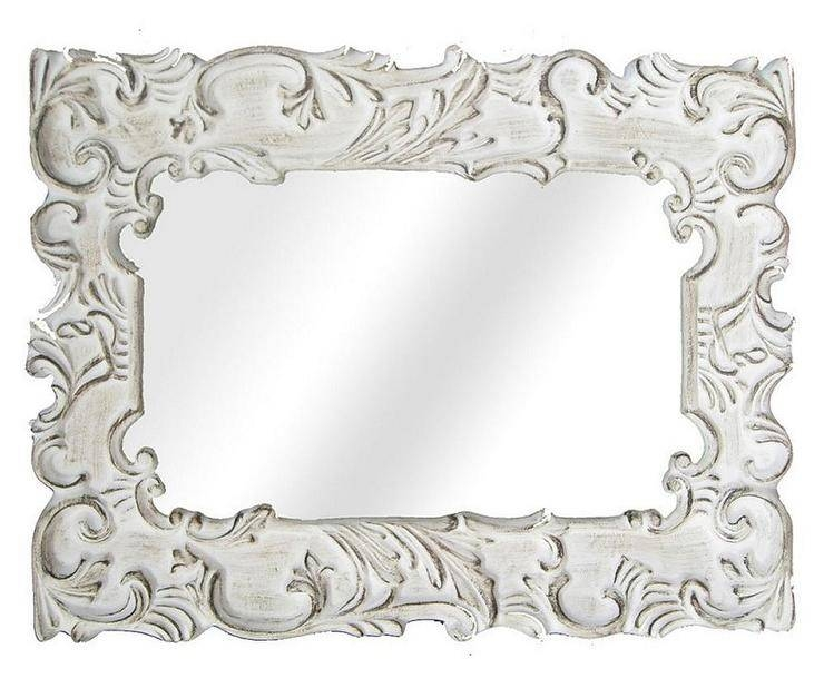 Ornate Bathroom Wall Mirror With Distressed White Wall Mirrors (#9 of 15)