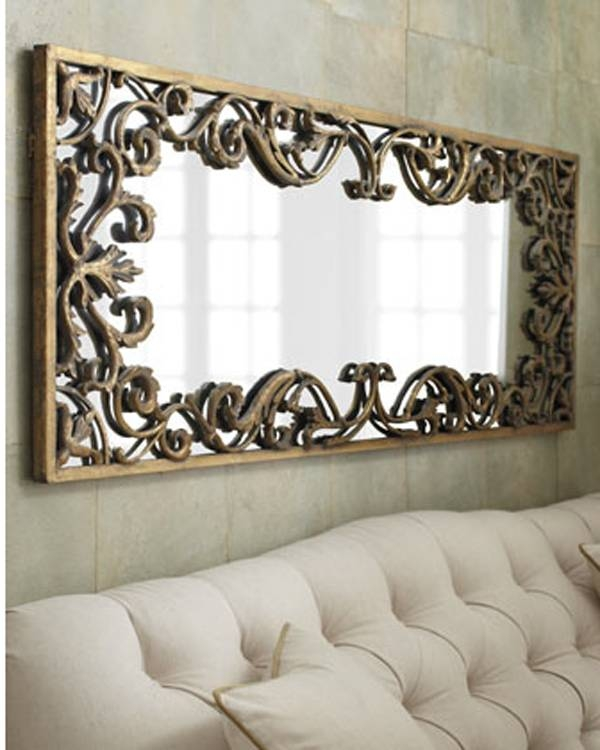 Ornate Decorative Gold Scroll Large Wall Mirror Xl 68"