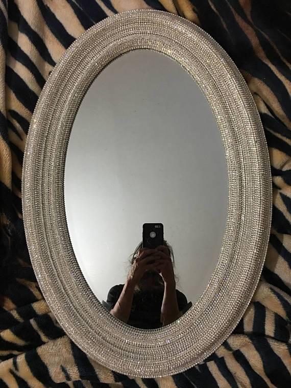 Oval Mirror / 21 X 31 Rhinestone Mirror / Wall Pertaining To Rhinestone Wall Mirrors (View 11 of 15)