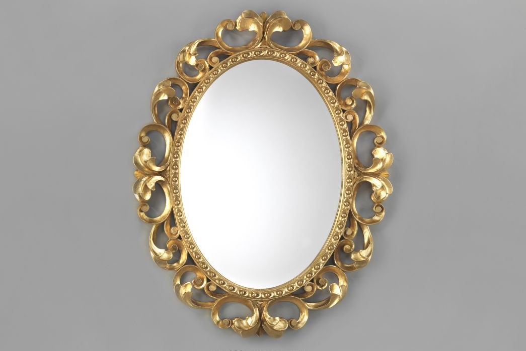Oval Mirror – Hand Carved Gold Wood Frame – Luxury Decor Regarding Gold Oval Mirrors (#11 of 15)