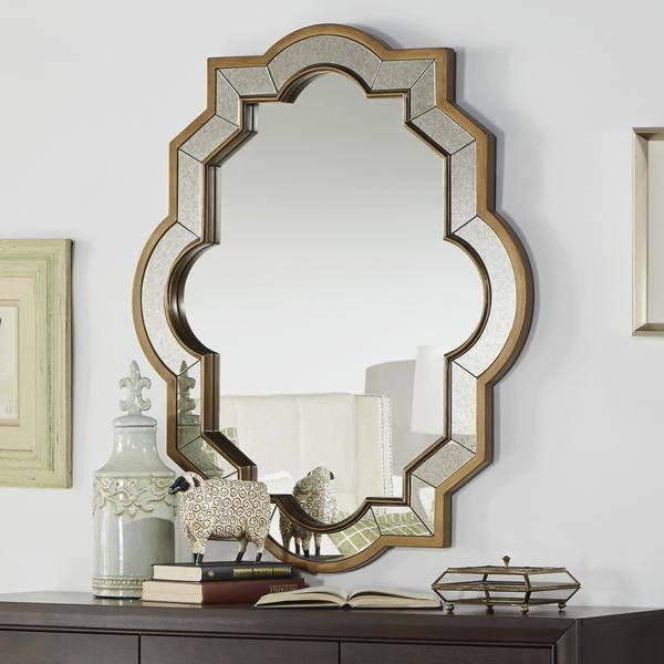 Oval Quatrefoil Brown Frame Accent Wall Mirror Intended For Wide Wall Mirrors (#7 of 15)