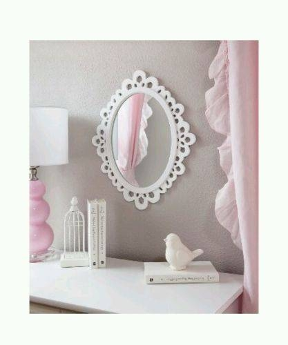 Oval Wood Lace Elegant Stylish Wall Mirror Girls Bedroom Bathroom Inside Girls Wall Mirrors (View 10 of 15)