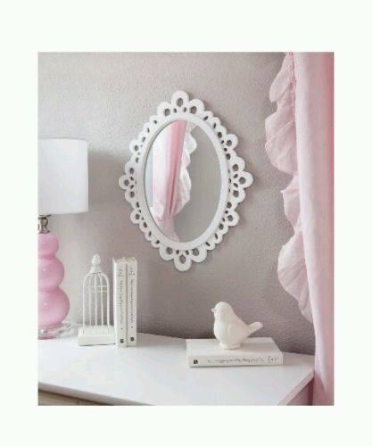 Oval Wood Lace Elegant Stylish Wall Mirror Girls Bedroom Bathroom Inside Girls Wall Mirrors (#12 of 15)