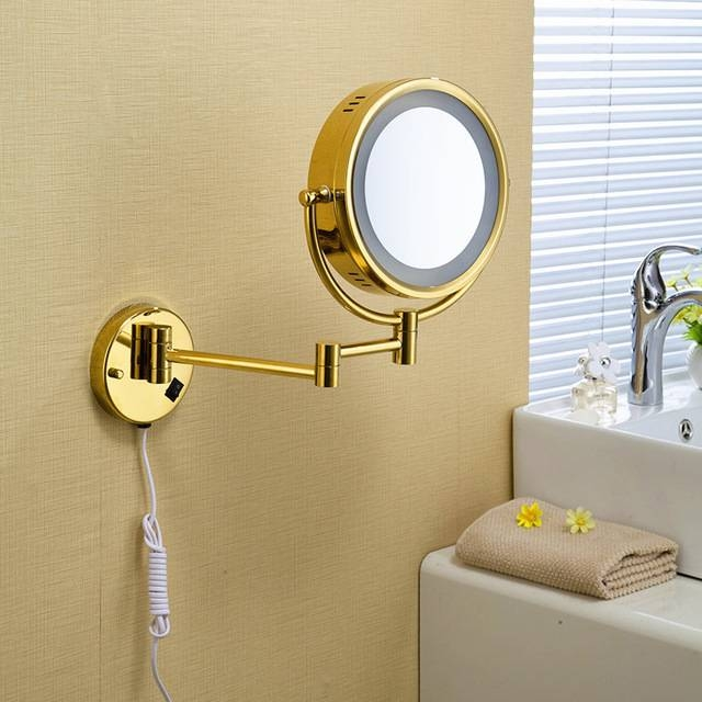 Owofan Bath Mirrors 9 Inch Brass 1:3 Magnifying Wall Round Led Pertaining To Led Wall Mirrors (#11 of 15)