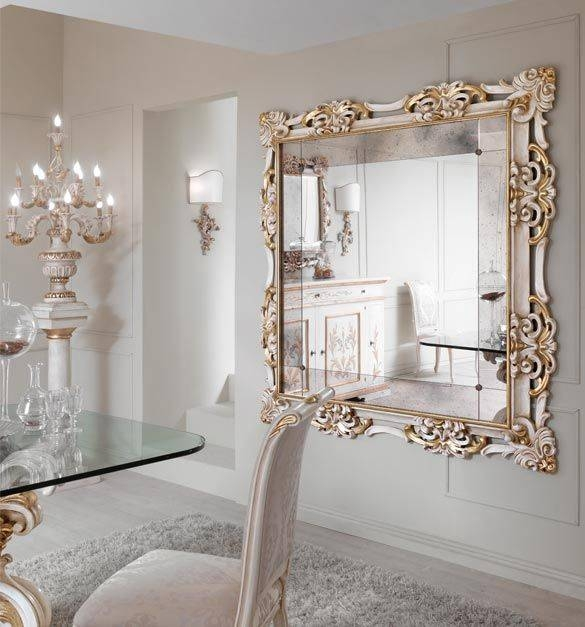 Paris Collection Large Gold And White Wall Mirror With Antiqued With Regard To Large Gold Wall Mirrors (#14 of 15)