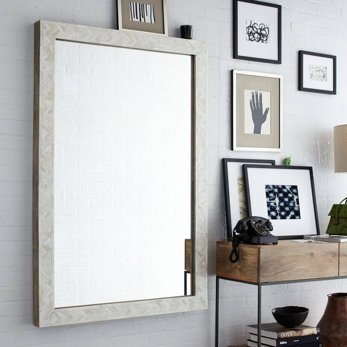 Parsons Large Wall Mirror – Bone Inlay | West Elm With Large Wood Wall Mirrors (#12 of 15)