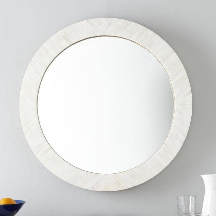 Parsons Round Mirror – Bone Inlay | West Elm Regarding Round White Wall Mirrors (#3 of 15)