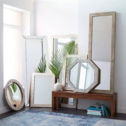 Parsons Small Wall Mirror – Bone Inlay | West Elm For Parsons Wall Mirrors (#4 of 15)